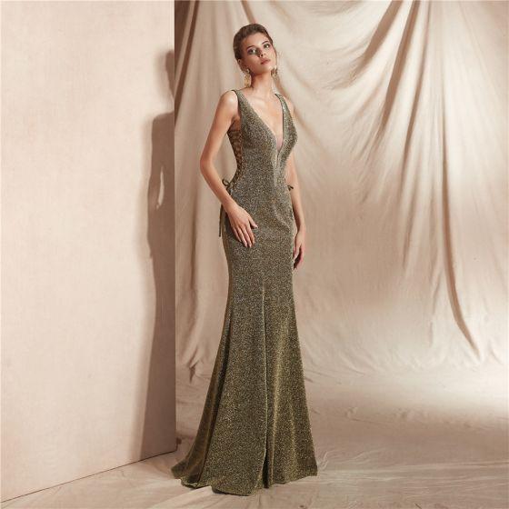 Sexy Clover Green Evening Dresses  2020 Trumpet / Mermaid Deep V-Neck Sleeveless Glitter Polyester Floor-Length / Long Ruffle Backless Formal Dresses