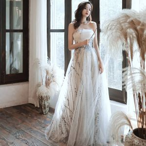 Schöne Champagner Abendkleider 2020 A Linie Herz-Ausschnitt Ärmellos Pailletten Perlenstickerei Glanz Tülle Lange Rüschen Rückenfreies Festliche Kleider