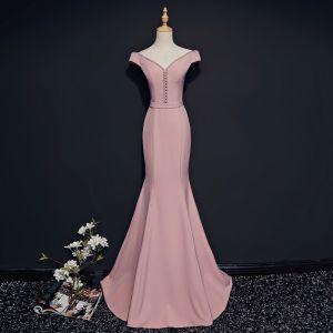 Simple Rougissant Rose Robe De Soirée 2018 Trompette / Sirène V-Cou Manches Courtes Perlage Cristal Ceinture Train De Balayage Dos Nu Robe De Ceremonie