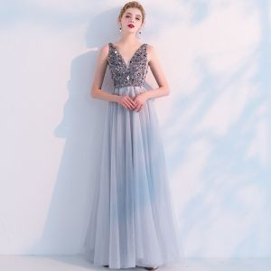 Sexy Grey See-through Evening Dresses  2019 A-Line / Princess V-Neck Sleeveless Sequins Pearl Beading Split Front Floor-Length / Long Ruffle Backless Formal Dresses