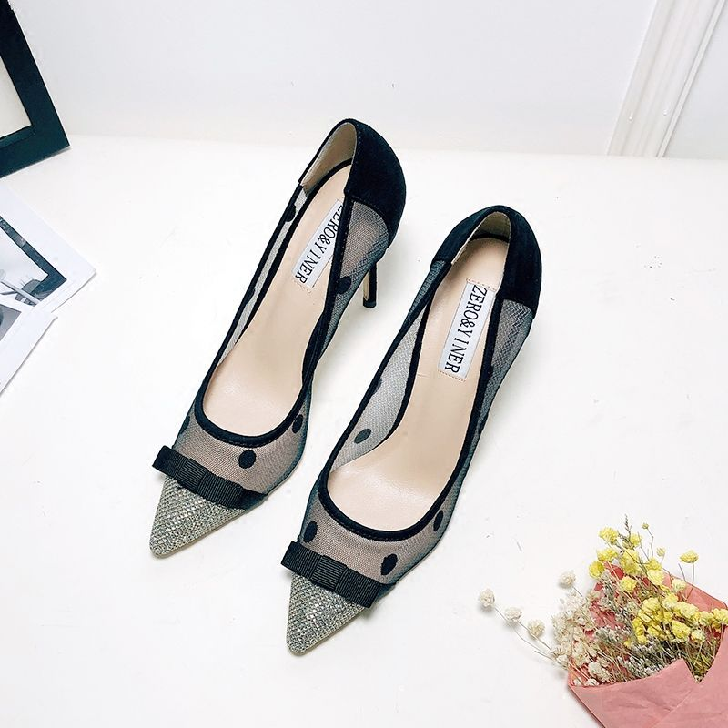 Chic / Beautiful Black Pumps 2018 Bow Spotted Pointed Toe Pumps