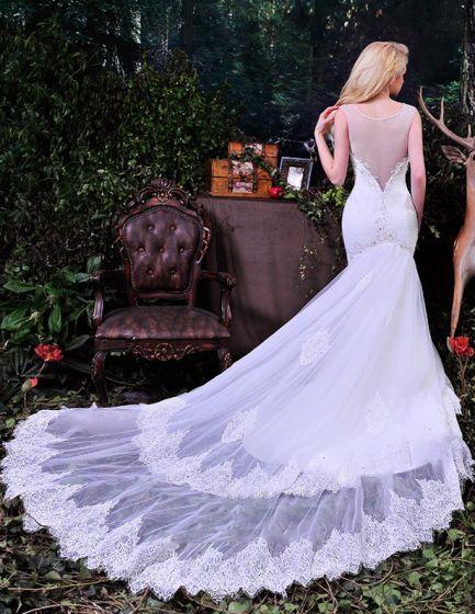 Robes De Tulle De Mariée Sirène Élégante Profonde Encolure En V Perles À Long Tailing Percé