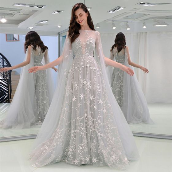 Elegant Grey Evening Dresses  2019 A-Line / Princess Square Neckline Star Lace Sleeveless Sweep Train Formal Dresses