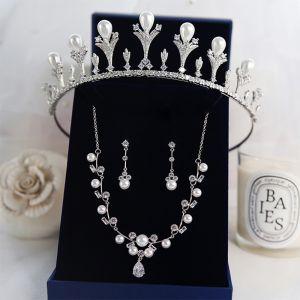 Luxe Argenté Tiare Un Collier Boucles D'Oreilles Bijoux Mariage 2019 Métal Perle Faux Diamant Accessoire Cheveux Mariage