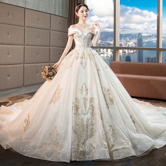 Chic / Beautiful Champagne Wedding Dresses 2018 Ball Gown Lace Flower Beading Crystal Sequins Off-The-Shoulder Backless Sleeveless Royal Train Wedding