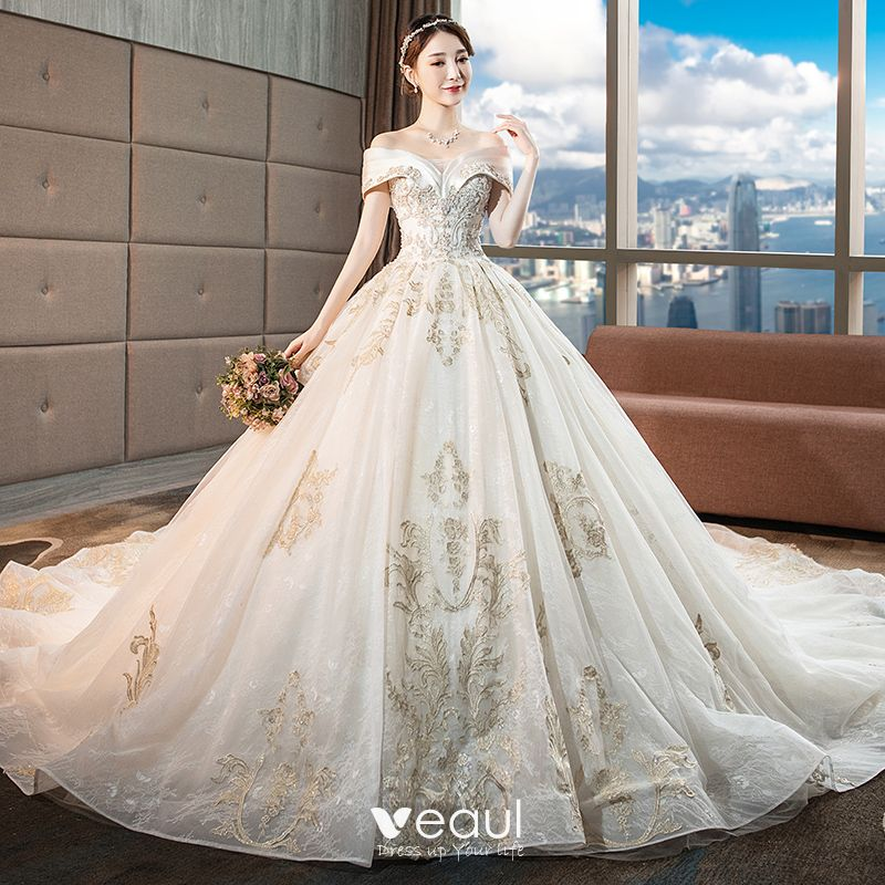 Chic / Beautiful Champagne Wedding Dresses 2018 Ball Gown