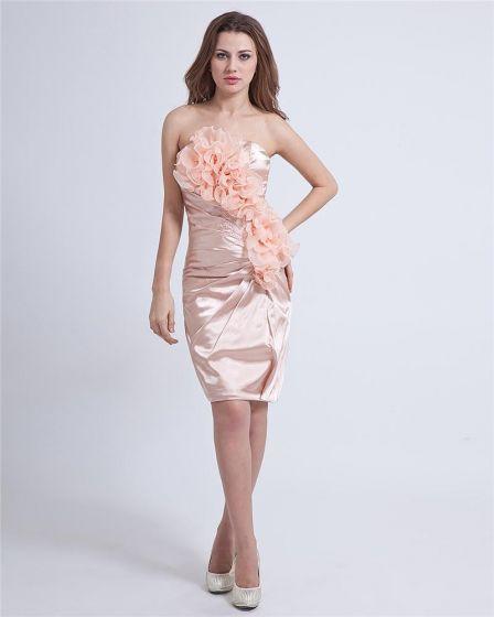 Charmeuse Kolano Kwiat Długosc Bez Ramiaczek Tanie Sukienki Koktajlowe Sukienki Wizytowe