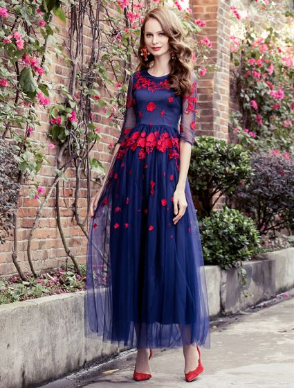 Beautiful Prom Dress 2016 A-line Scoop Neck Applique Red Lace Flower Royal Blue Tulle Long Dress