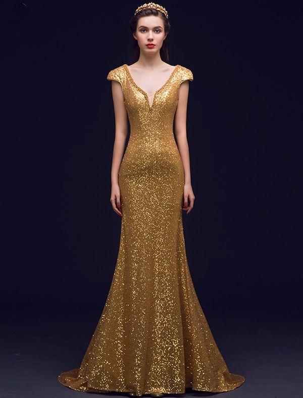 Sirène Brillant Profond Backless V-cou Paillettes D'or Longue Robe De Soirée
