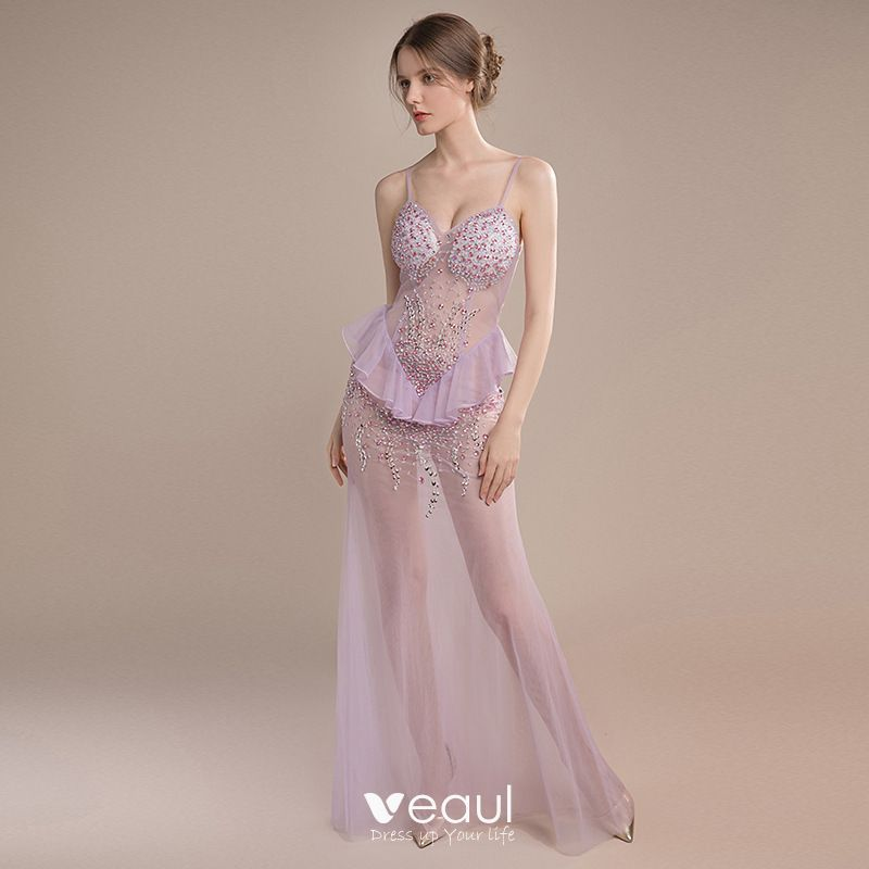 072b08e4e5c Sexy Lavender See-through Evening Dresses 2018 Trumpet   Mermaid Sleeveless Spaghetti  Straps Rhinestone Beading Sequins ...