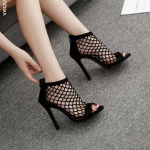 Sexy Black Casual Womens Sandals 2020 Pierced 11 cm Stiletto Heels Open / Peep Toe Sandals