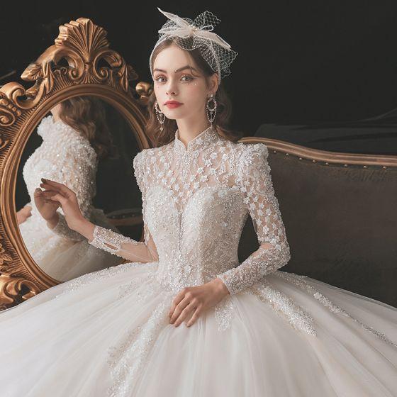 Kinesisk Stil Vintage Elfenben Beading Bröllopsklänningar 2021 Balklänning Hög Hals Pärla Paljetter Långärmad Halterneck Royal Train Bröllop