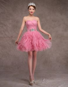 2015 Sweetheart Pink Tulle Graduation Puff Granduation Party Dresses