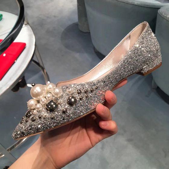 Brillante Plata Planos Zapatos de novia 2020 Perla Rhinestone Punta Estrecha Flat