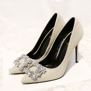 Sparkly Gold Office Pumps 2018 Rhinestone 10 cm Stiletto Heels Pointed Toe Pumps