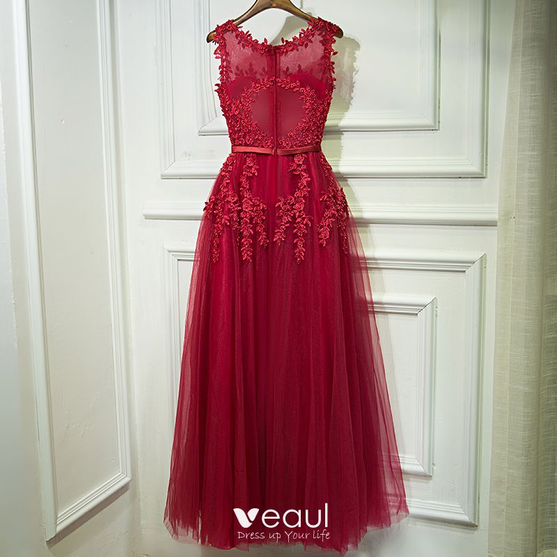 Chic / Beautiful Red Formal Dresses 2017 A-Line / Princess Lace Flower Pearl Sleeveless Floor-Length / Long Evening Dresses