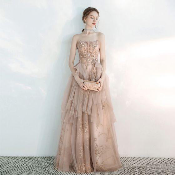 Schöne Champagner Abendkleider 2020 A Linie Herz-Ausschnitt Ärmellos Perlenstickerei Glanz Tülle Lange Rüschen Rückenfreies Festliche Kleider