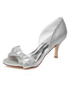Sprankelende Zilveren Trouwsschoenen Sandalen Stiletto Hakken Pumps Peep Toe Bruidsschoenen Met Glitter