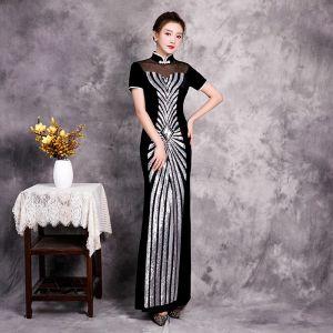 Asequible Negro Cheongsam Vestidos de noche 2020 Trumpet / Mermaid Transparentes Cuello Alto Manga Corta Lentejuelas Largos Vestidos Formales
