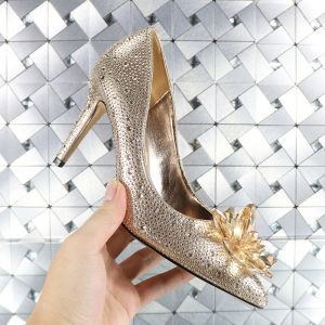 Charming Champagne Evening Party Crystal Pumps 2020 Rhinestone 7 cm Stiletto Heels Pointed Toe Pumps