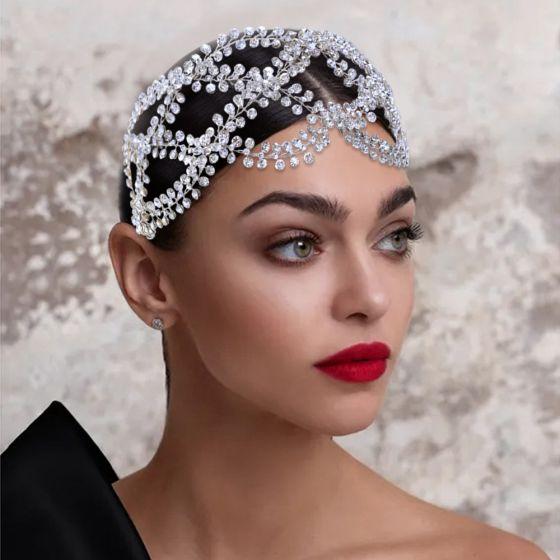 Vintage / Retro Silver Bridal Hair Accessories 2021 Alloy Rhinestone Wedding Headpieces