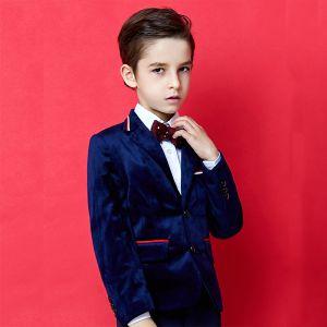 Fashion Royal Blue Velour Boys Wedding Suits 2020 Long Sleeve Coat Pants Shirt Tie Vest