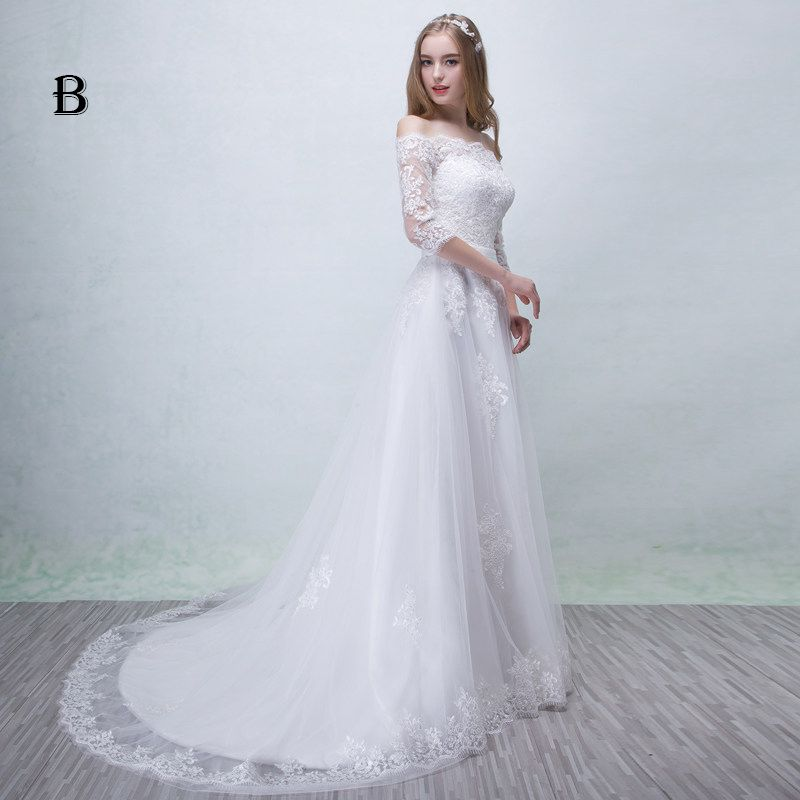 Chic / Beautiful Church Wedding Dresses 2017 Lace Appliques Backless Sash Square Neckline 3/4 Sleeve A-Line / Princess Floor-Length / Long