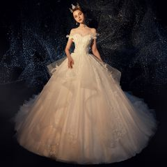 Elegant Champagne Wedding Dresses 2019 Ball Gown Off-The-Shoulder Short Sleeve Backless Appliques Lace Pearl Glitter Tulle Chapel Train Ruffle