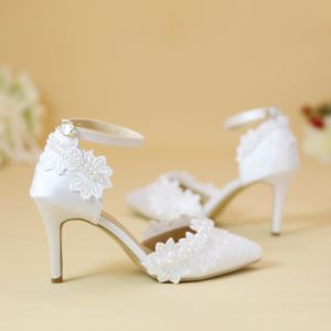 Chic / Beautiful White Wedding Shoes 2019 Ankle Strap Lace Flower Pearl 8 cm Stiletto Heels Pointed Toe Wedding High Heels