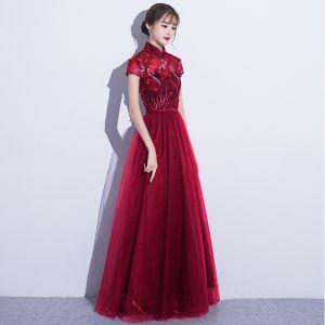 Chic / Belle Style Chinois Robe De Soirée 2017 Princesse Dentelle Fleur Paillettes Dos Nu Col Haut Manches Courtes Robe De Ceremonie Identique La Première Photo