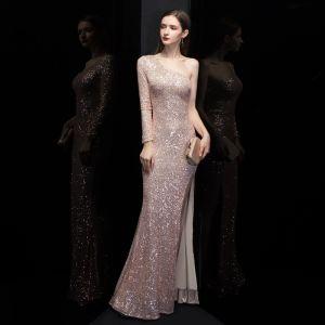 Erschwinglich Rose Gold Pailletten Abendkleider 2020 Meerjungfrau One-Shoulder Lange Ärmel Gespaltete Front Lange Rückenfreies Festliche Kleider