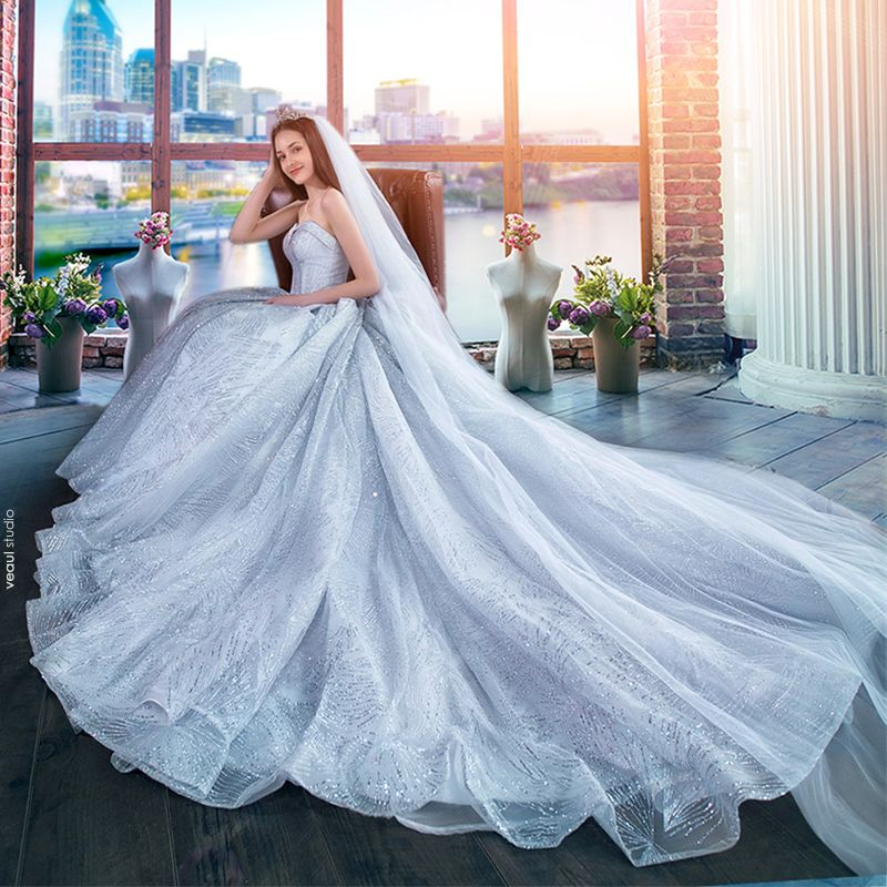 Luxury / Gorgeous Silver Wedding Dresses 2018 A-Line / Princess Glitter Sweetheart Backless Sleeveless Royal Train Wedding