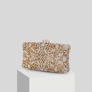 Luxus Guld Rhinestone Glitter Clutch Taske 2019