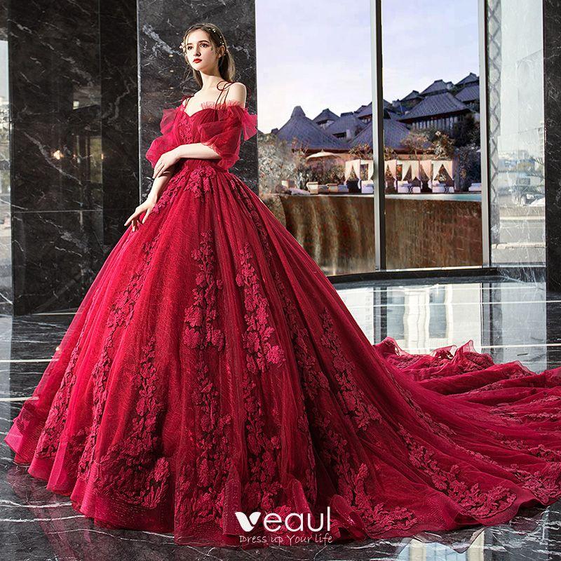 Classy Red Ruffle Wedding Dresses 2019 Ball Gown Spaghetti