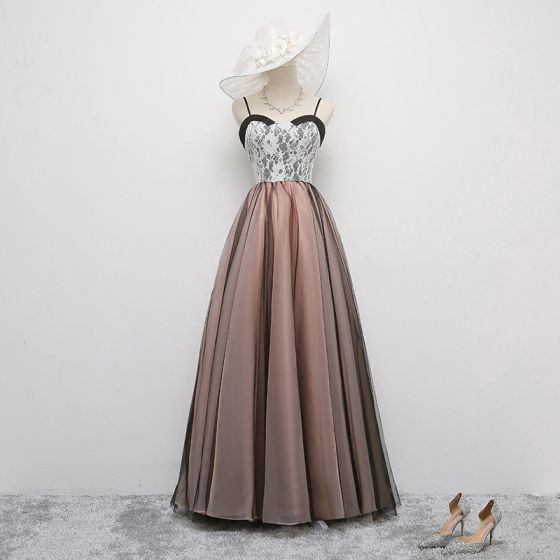 Chic / Beautiful Black Pearl Pink Prom Dresses 2017 A-Line / Princess Spaghetti Straps Sleeveless Floor-Length / Long Ruffle Backless Formal Dresses