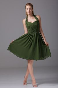 Chiffon Imitation Silk Ruffle Halter Knee Length Bridesmaid Dresses