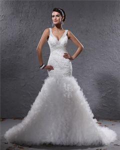 Elegantes Garn Charmeuse Applique Perlen V-ausschnitt Bodenlange Mermaid Brautkleid