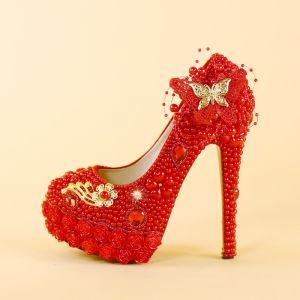 Charmant Rot Perle Brautschuhe 2019 Kristall Schmetterling Blumen 14 cm Stilettos Runde Zeh Hochzeit Pumps