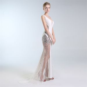 Sexy Ivory See-through Evening Dresses  2019 Trumpet / Mermaid V-Neck Sequins Rhinestone Sleeveless Backless Sweep Train Formal Dresses