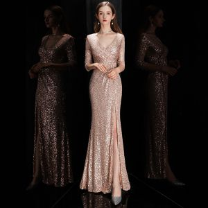Sexy Rose Gold Sequins Evening Dresses  2020 Trumpet / Mermaid Deep V-Neck 3/4 Sleeve Split Front Floor-Length / Long Formal Dresses