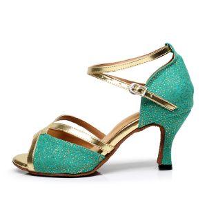Mode Glitter Grøn Latin Dansesko 2020 Læder Sommer Dancing Galla X-Strap Højhælede Sandaler Peep Toe Damesko