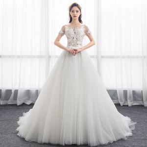 Illusion Ivory Pierced Wedding Dresses 2018 A-Line / Princess Scoop Neck Short Sleeve Appliques Lace Ruffle Chapel Train