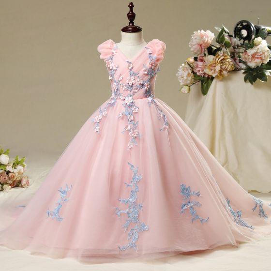 7ecfba53ca Piękne Sala Sukienki Na Wesele 2017 Sukienki Dla Dziewczynek Rumieniąc  Różowy Suknia Balowa Trenem Kaplica ...
