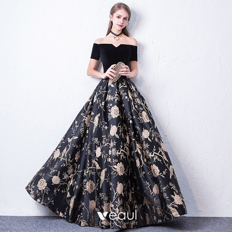 d5102cffa68 Modest   Simple Black Prom Dresses 2017 A-Line   Princess Off-The-Shoulder  Short Sleeve Embroidered Floor-Length ...