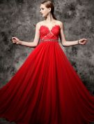 2016 Sexy Scoop Neckline Applique Feather Lace Beading Rhinestone Sash Backless Red Evening Dress