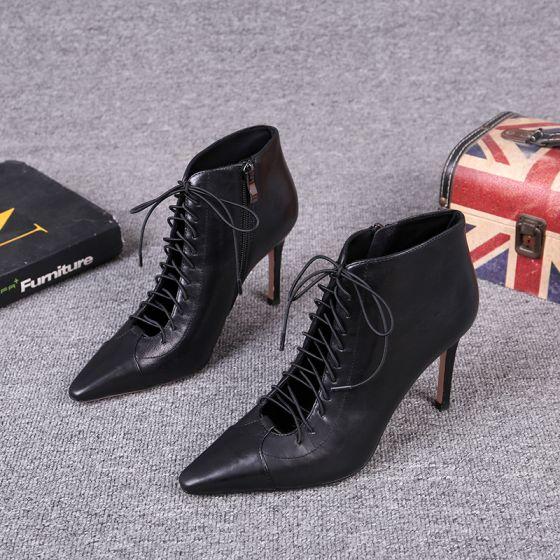 Fine Svart Gateklær Lær Kvinners støvler 2021 Ankel 8 cm Stiletthæler Spisse Boots