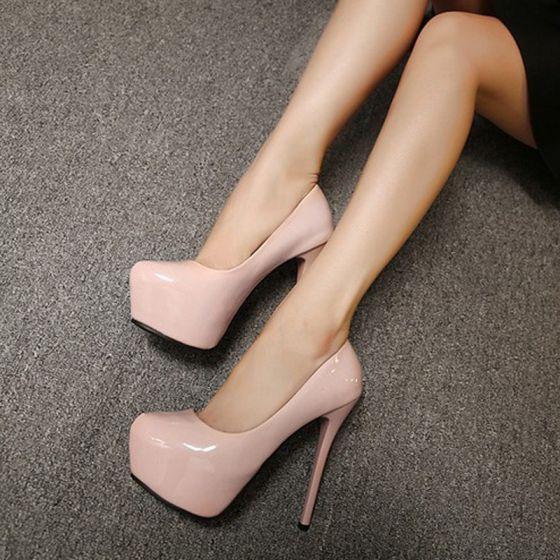 Chic / Beautiful Prom Pumps 2017 PU Platform High Heel Round Toe Pumps