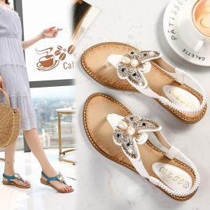 Charming Summer White Beach Flat Womens Shoes 2020 Rhinestone Pearl Butterfly Open / Peep Toe Sandals