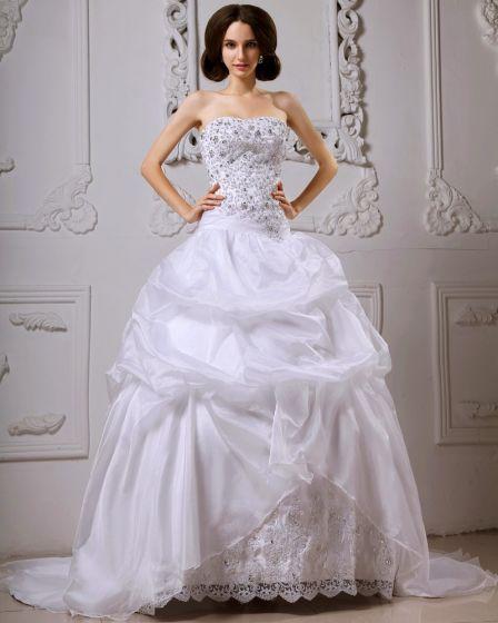 Satin Fangst Bubbla Beading Blomsterarrangemang Katedralen Tag Boll Klänning Brudklänningar Bröllopsklänningar