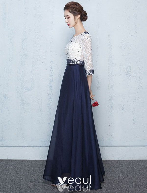 Beautiful Long Prom Dress Blue And White Lace Formal Dress Beaded
